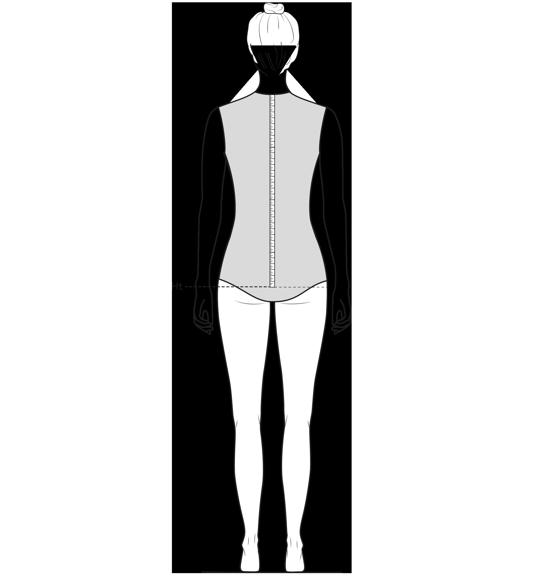 Diese Zeichnung zeigt das Messen der Hüfttiefe.