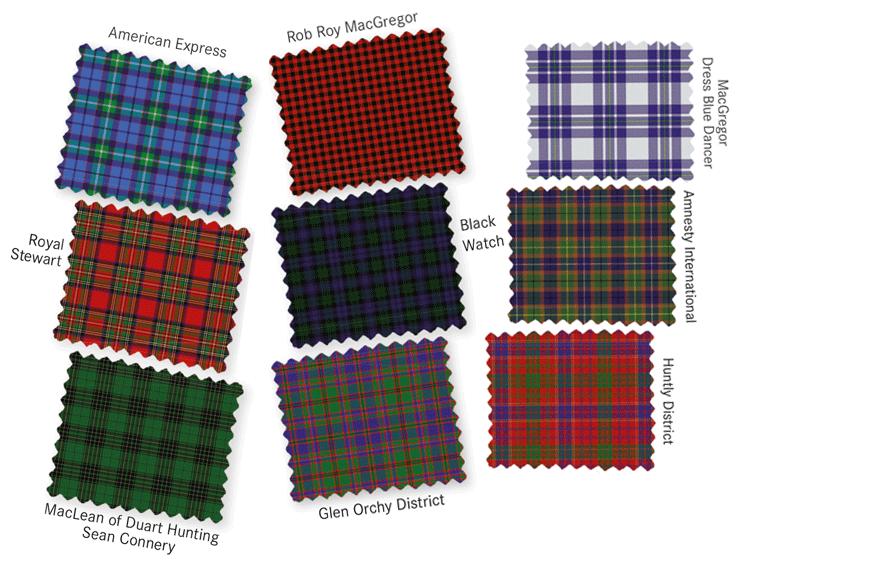 Hier eine Auswahl an verschiedenen Tartans typische Karomuster / Schottenkaros