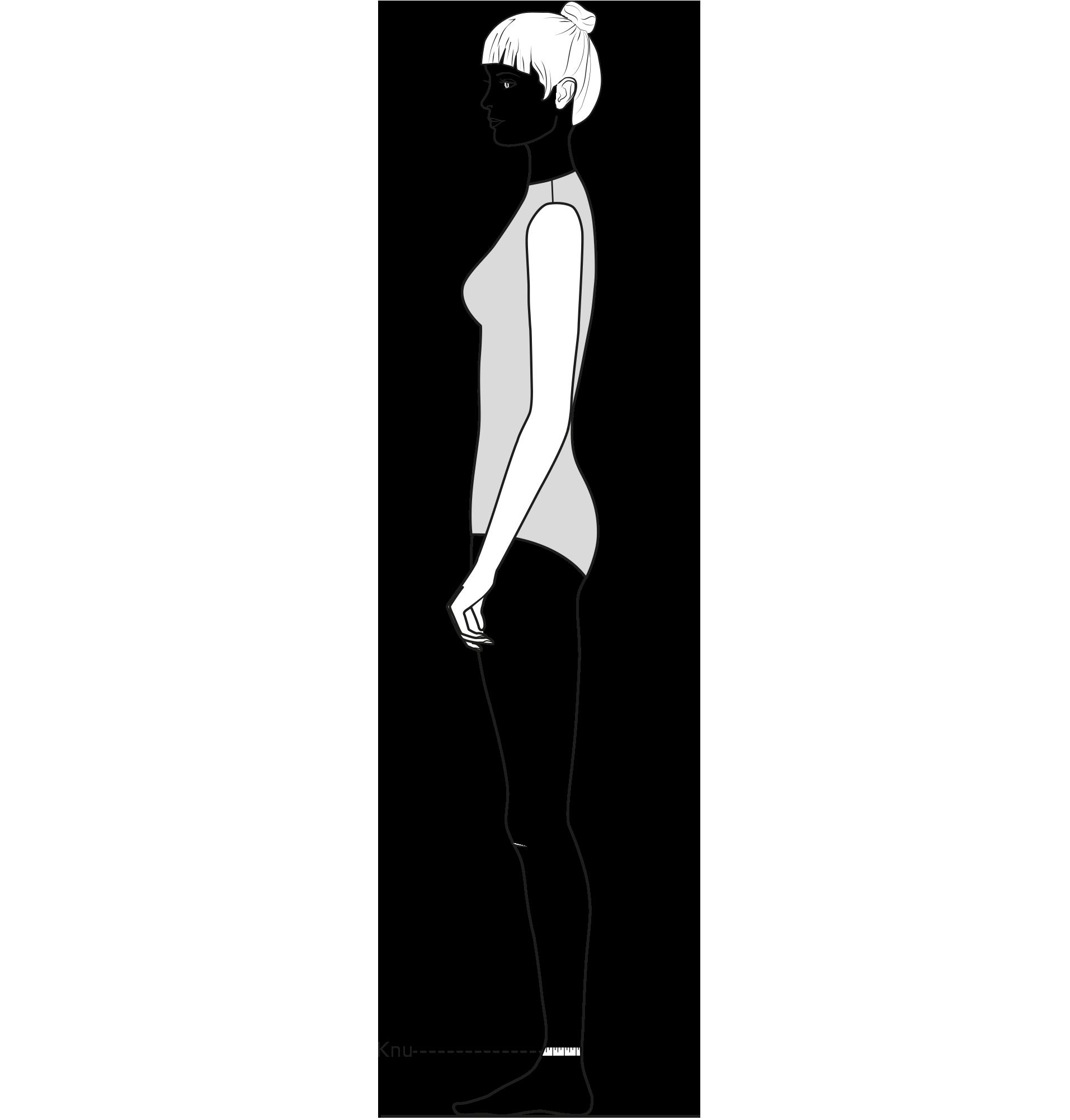 Diese Zeichnung zeigt das Messen des Knöchelumfangs.