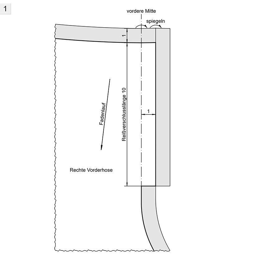 Schnittkonstruktion für einen Hosenschlitz