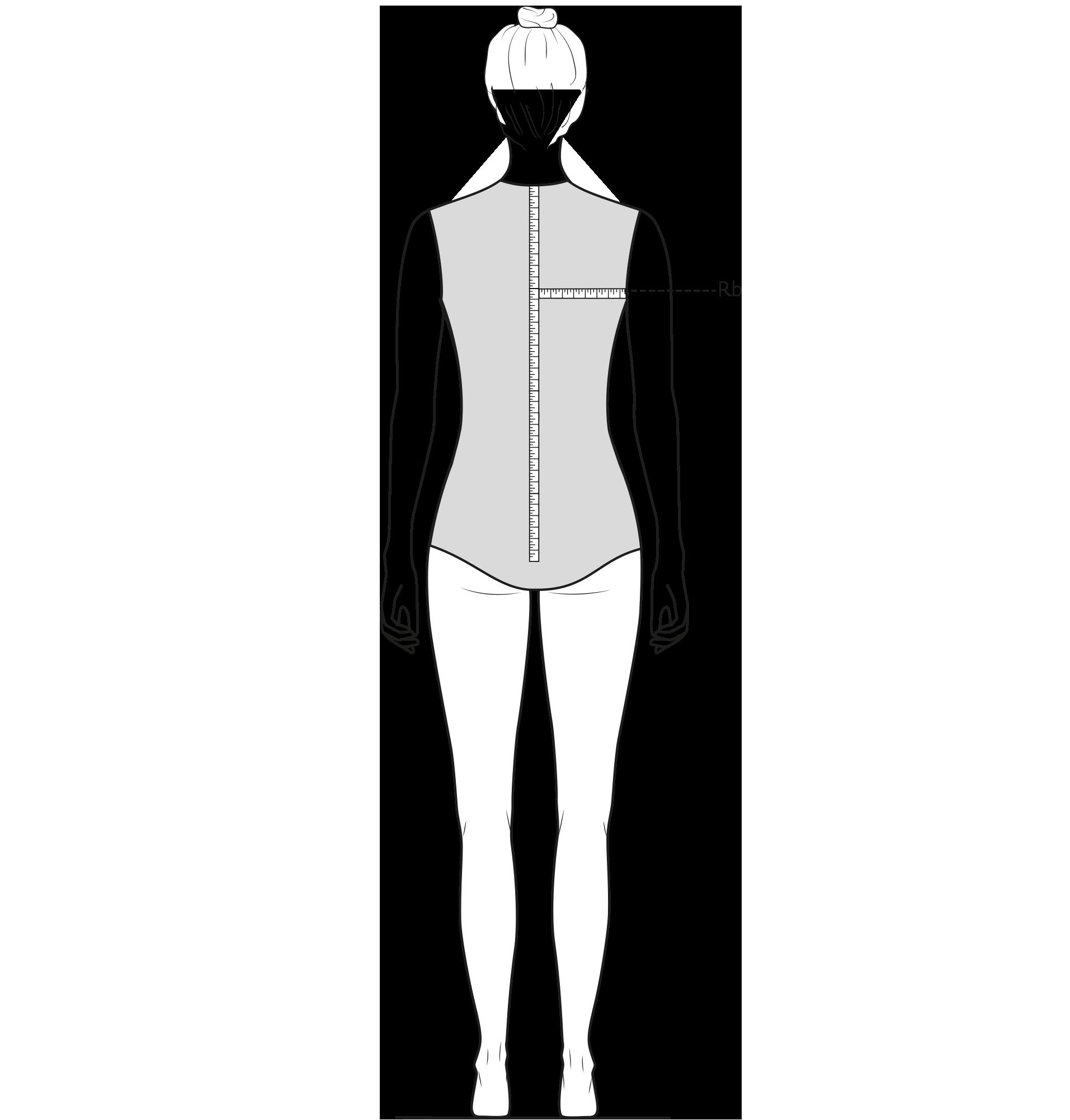 Diese Zeichnung zeigt das Messen der Rückenbreite.