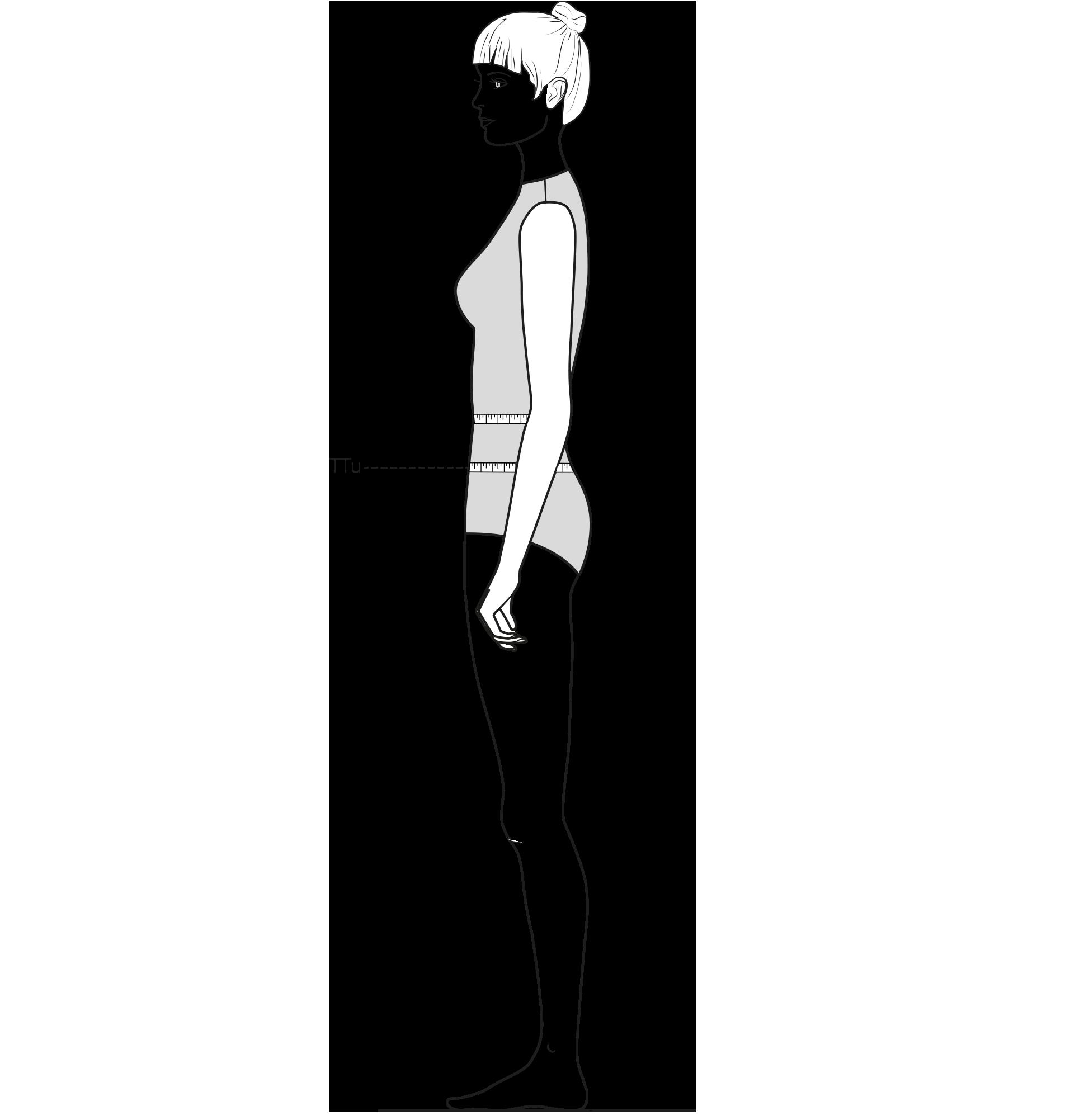 Diese Zeichnung zeigt das Messen des tiefen Taillenumfangs.