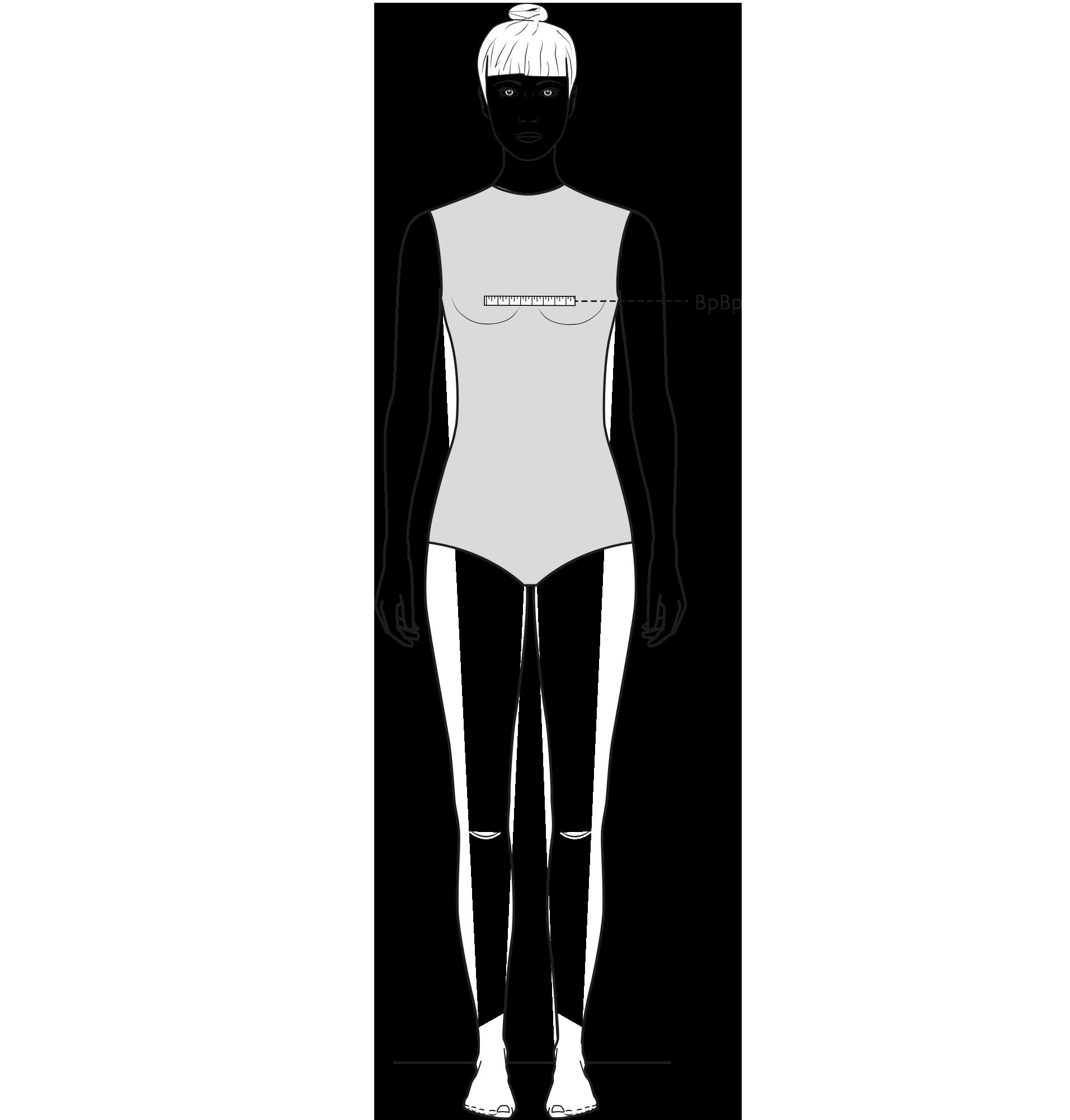 Diese Zeichnung zeigt das Messen des Abstands zwischen den Brustpunkten.