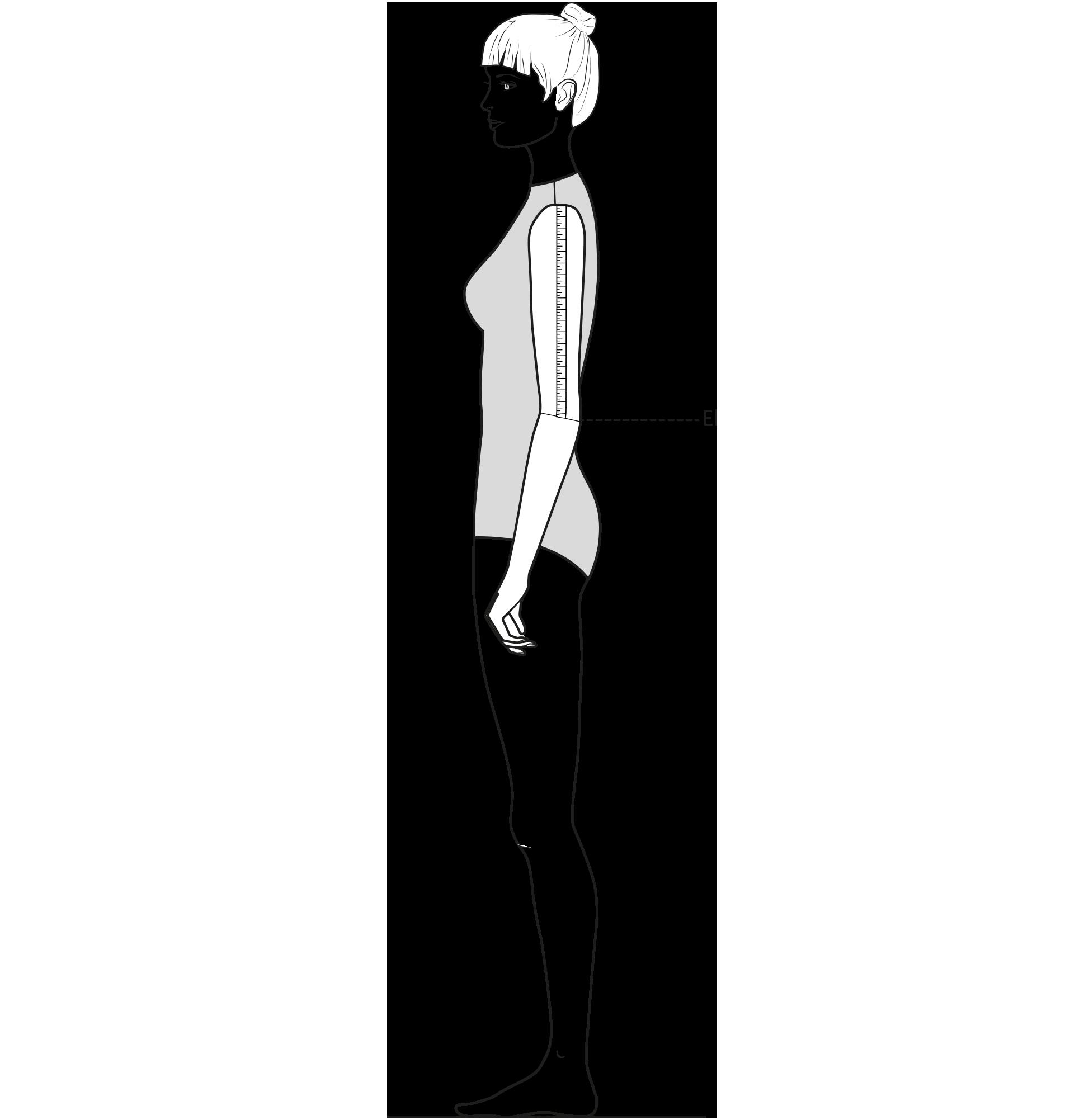Diese Zeichnung zeigt das Messen der Ellenbogenlänge.