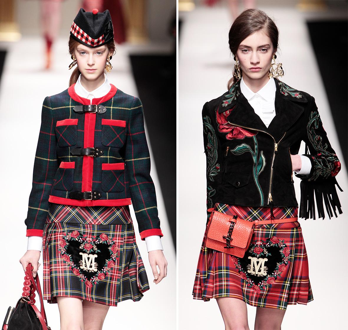 Models im Schottenrock von Moschino