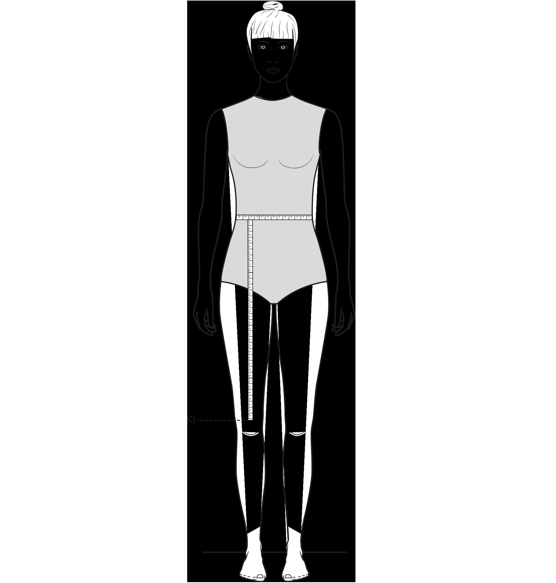 Diese Zeichnung zeigt das Messen der Knielänge.