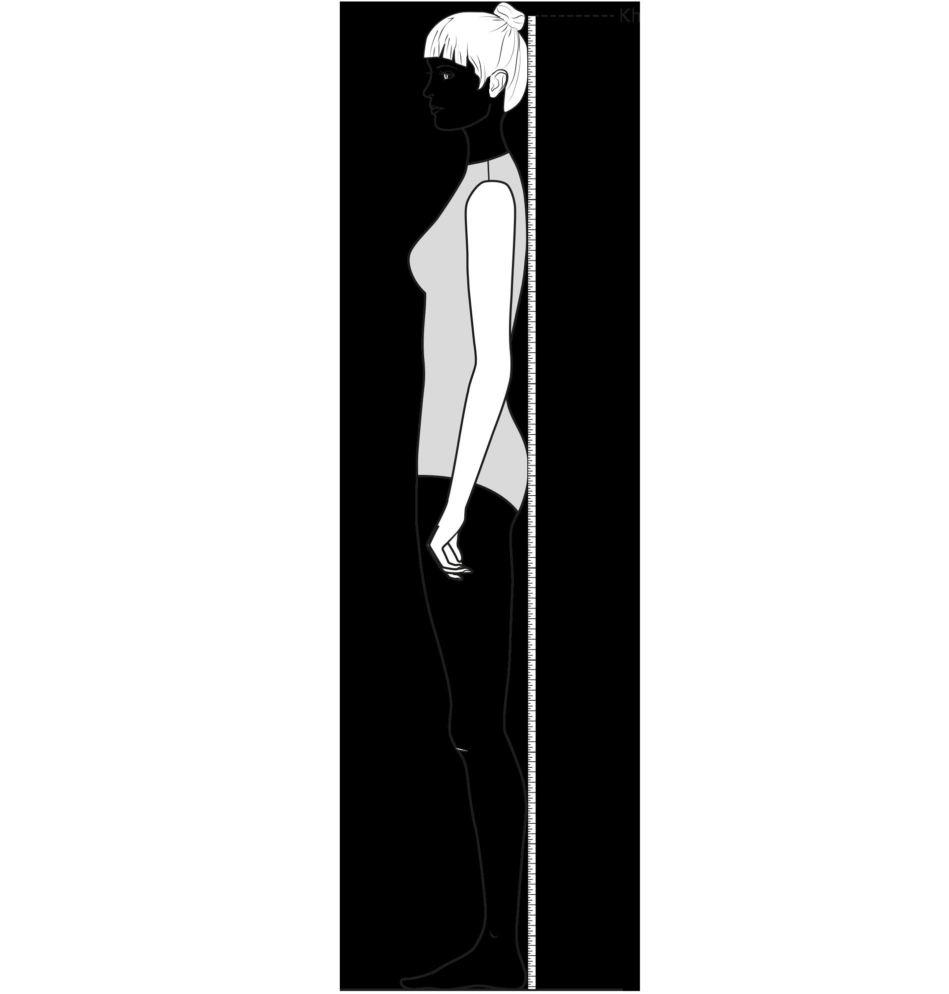 Diese Zeichnung zeigt das Messen der Körperhöhe.