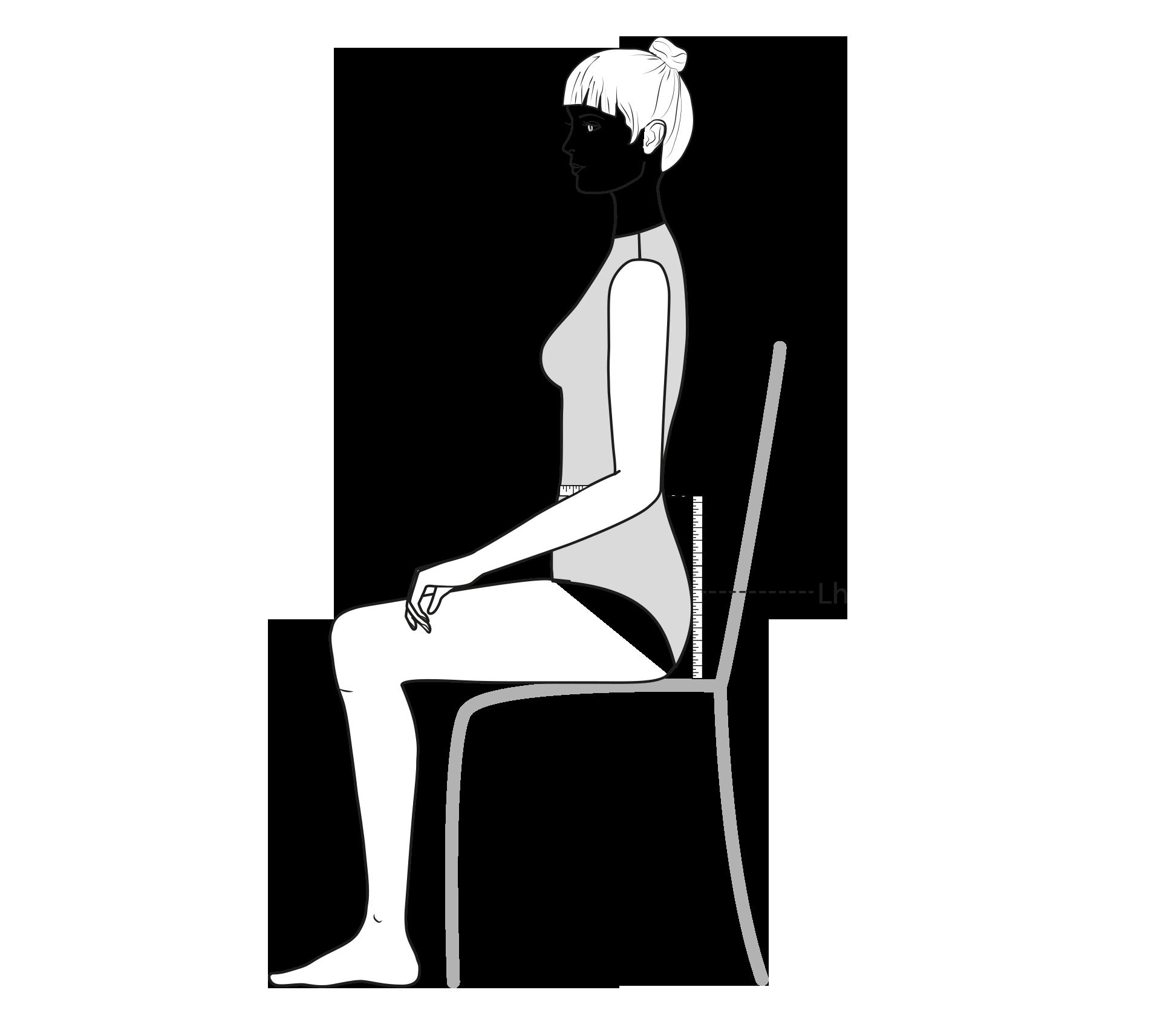Diese Zeichnung zeigt das Messen der Leibhöhe.