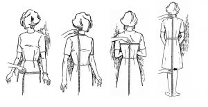 Vier Zeichnungen einer Dame, deren Körpermaße mit einem Maßband gemessen werden.