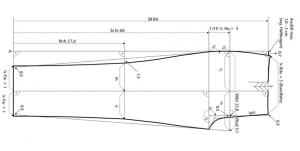 Technische Zeichnung eines Hosen-Schnittmusters mit Maßberechnungen