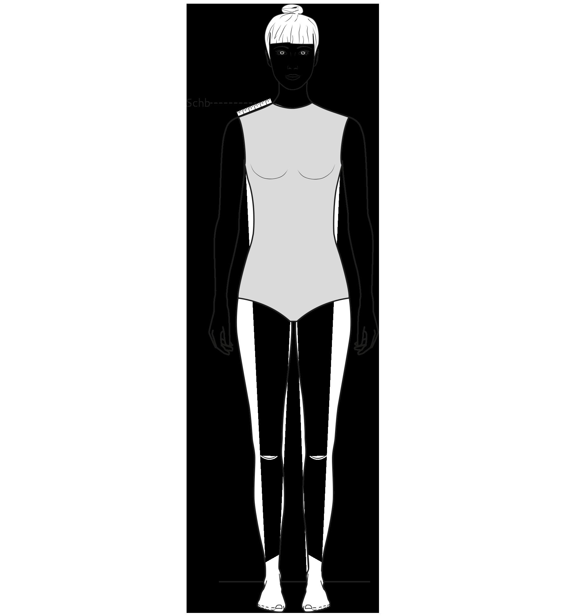 Diese Zeichnung zeigt das Messen der Schulterbreite.