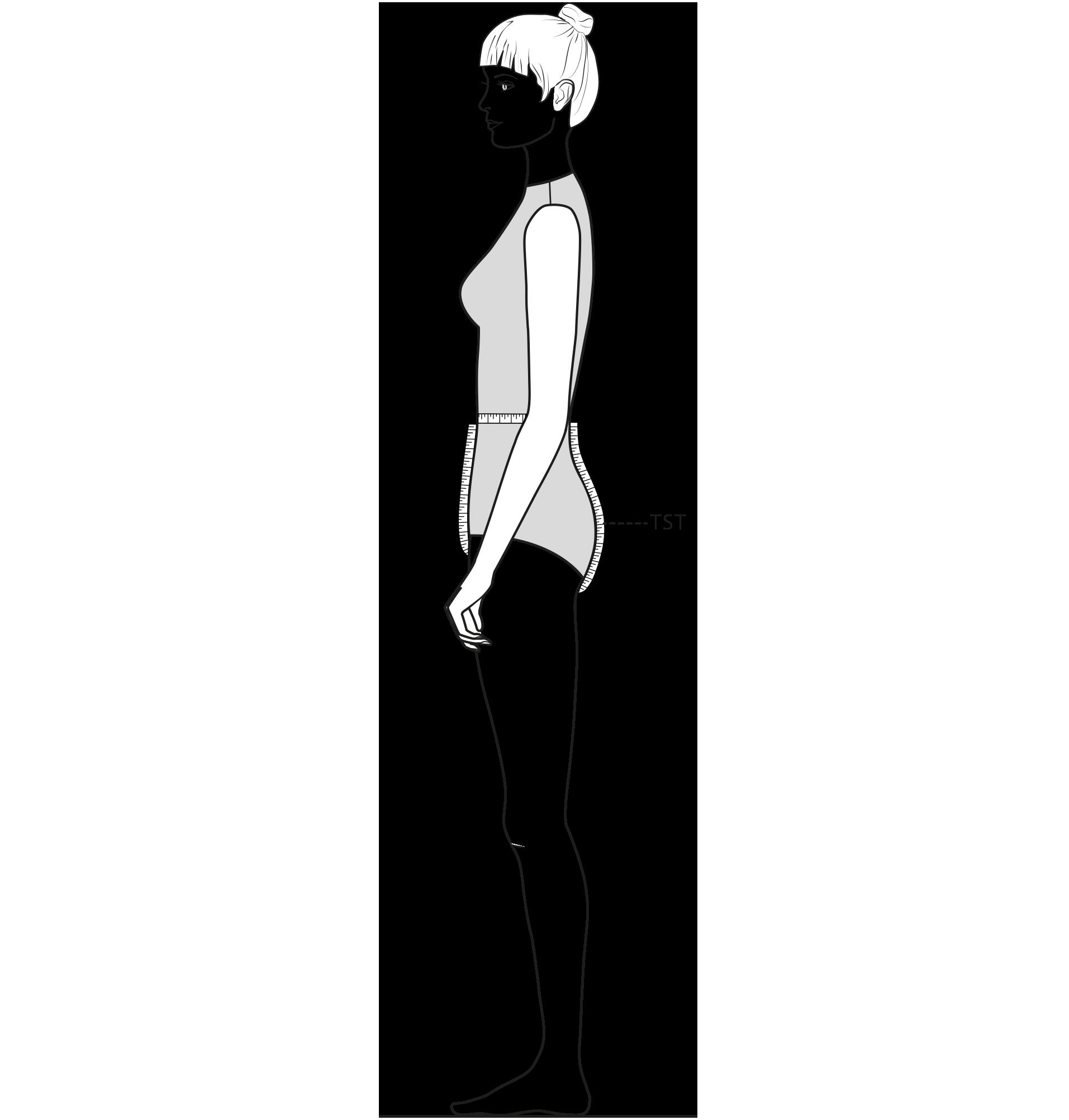Diese Zeichnung zeigt das Messen des Maß Taille-Schritt-Taille.