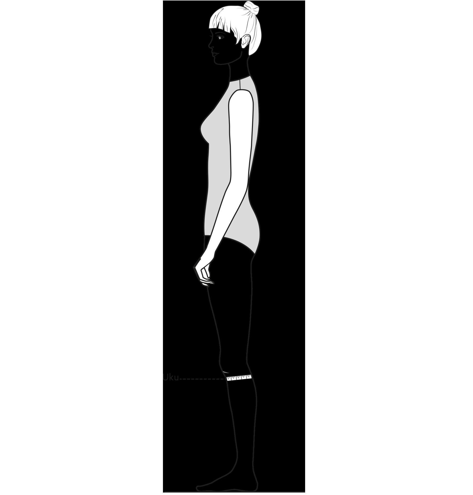 Diese Zeichnung zeigt das Messen des Unterknieumfangs.