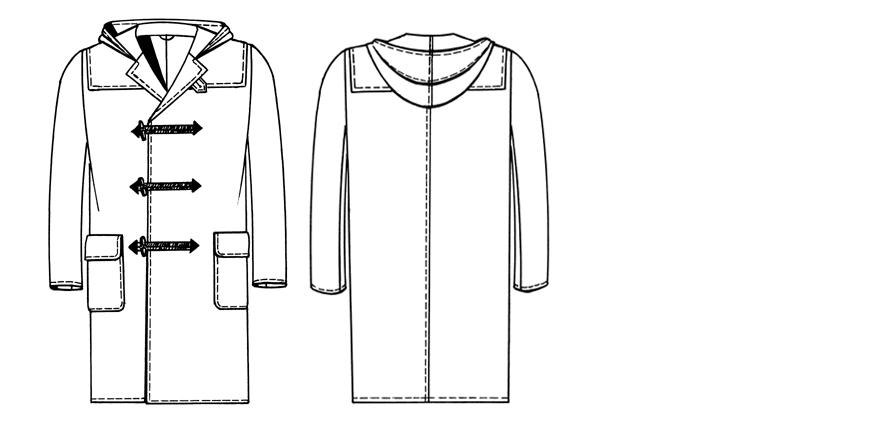 Technische Zeichnung eines Dufflecoat