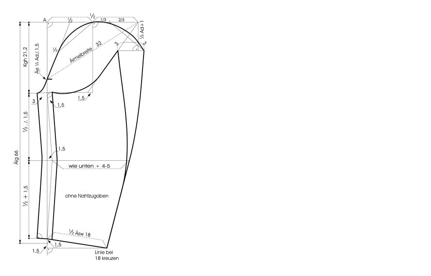Schnittkonstruktion des Ärmels bei einem Dufflecoat