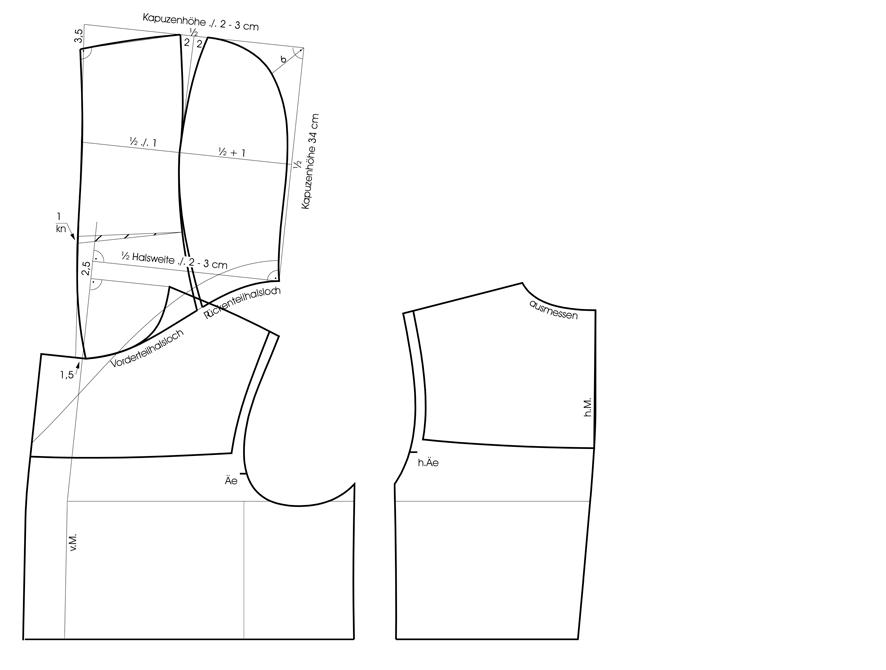 Schnittkonstruktion der Kapuze eines Dufflecoat