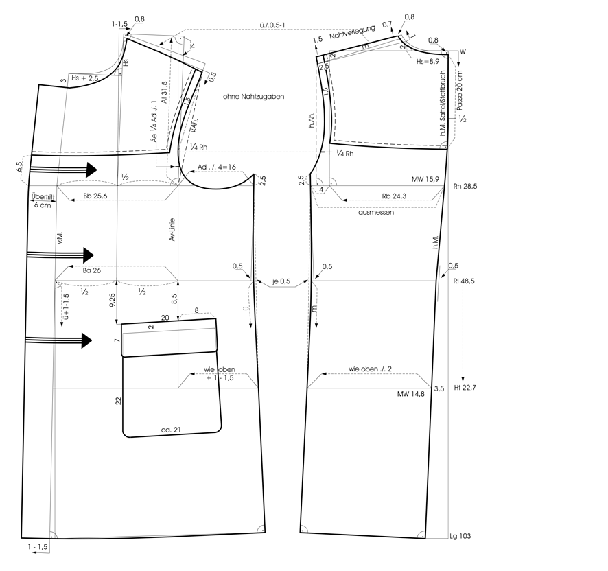 Schnittkonstruktion eines Dufflecoat