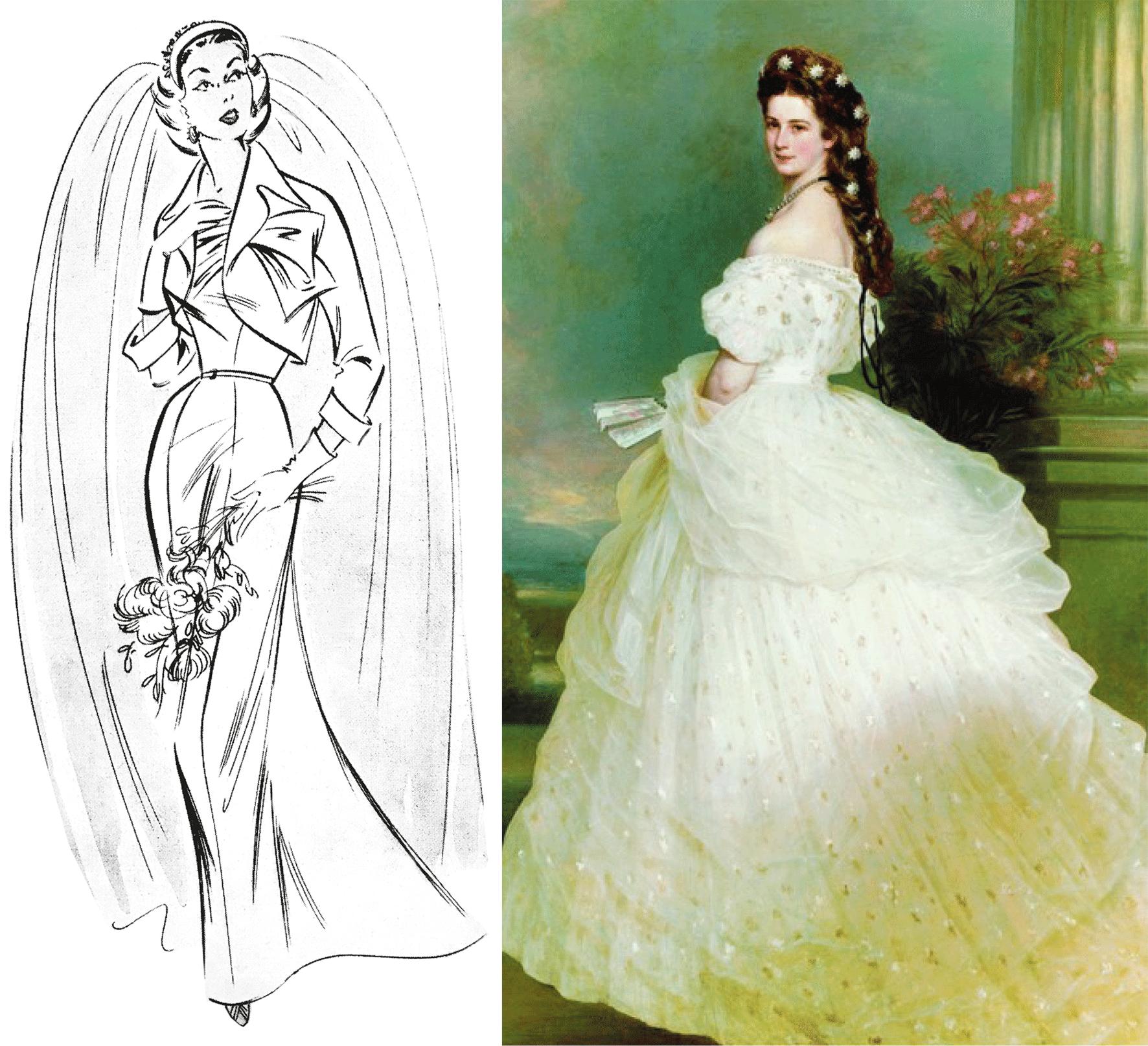 Abbildung von historischen Brautkleider