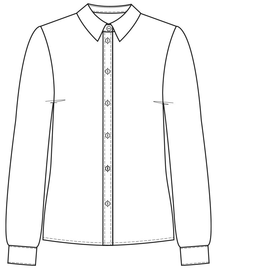 Technische Zeichnung einer abgesteppten Knopfleiste mit Falte