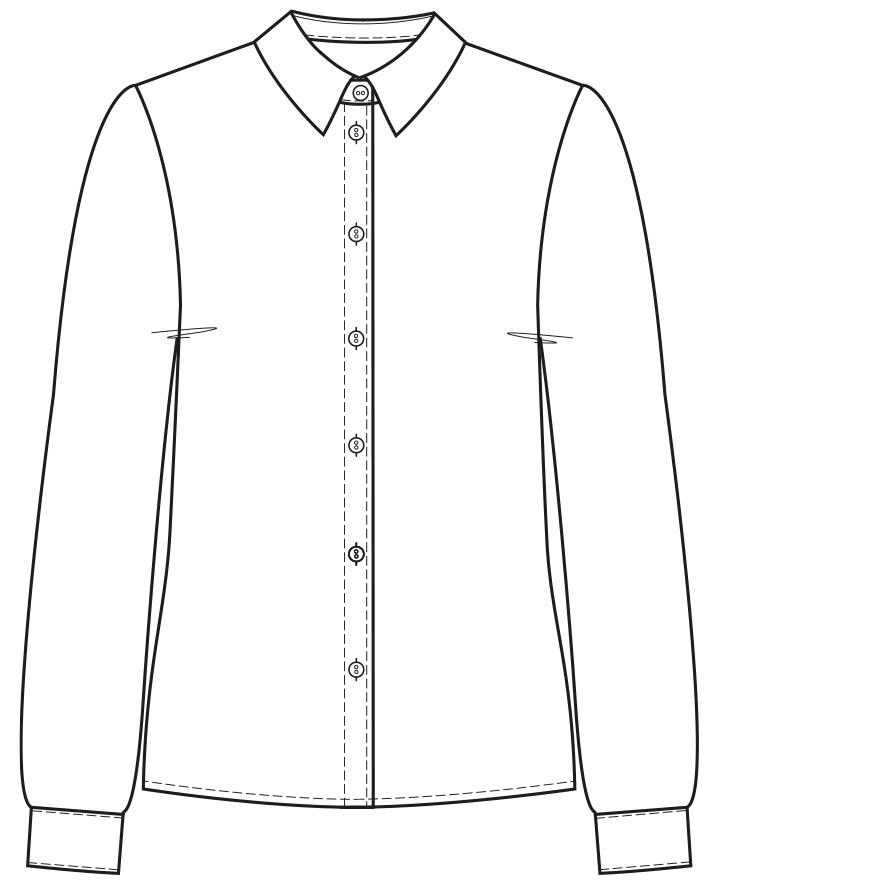 Technische Zeichnung einer abgesteppten Knopfleiste am Hemd