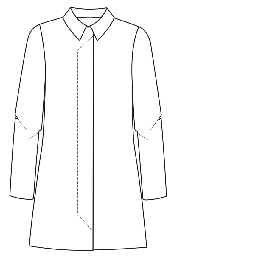 Technische Zeichnung einer verdeckten Knopfleiste am Mantel
