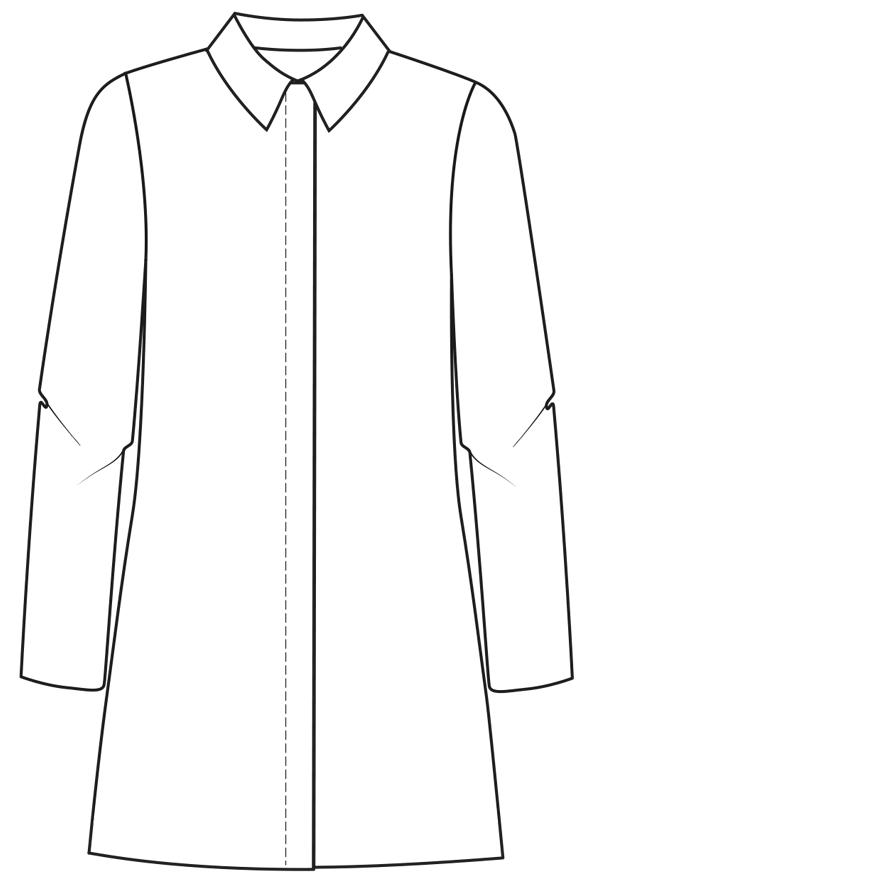 Technische Zeichnung einer Knopfleiste mit Schlaufen am Mantel