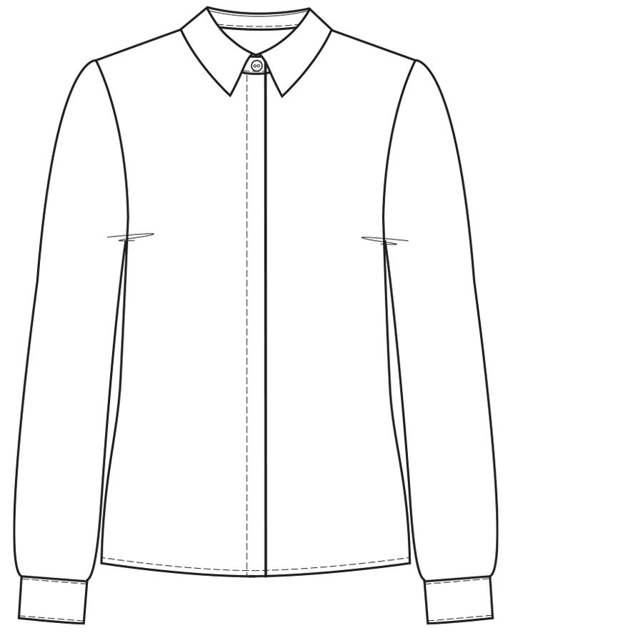 Technische Zeichnung einer verdeckten Knopfleiste am Hemd