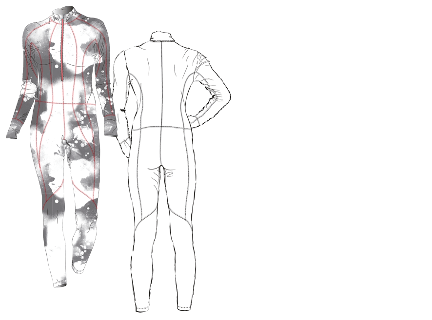 Technical drawing of a one-piece cross-country skiing suit