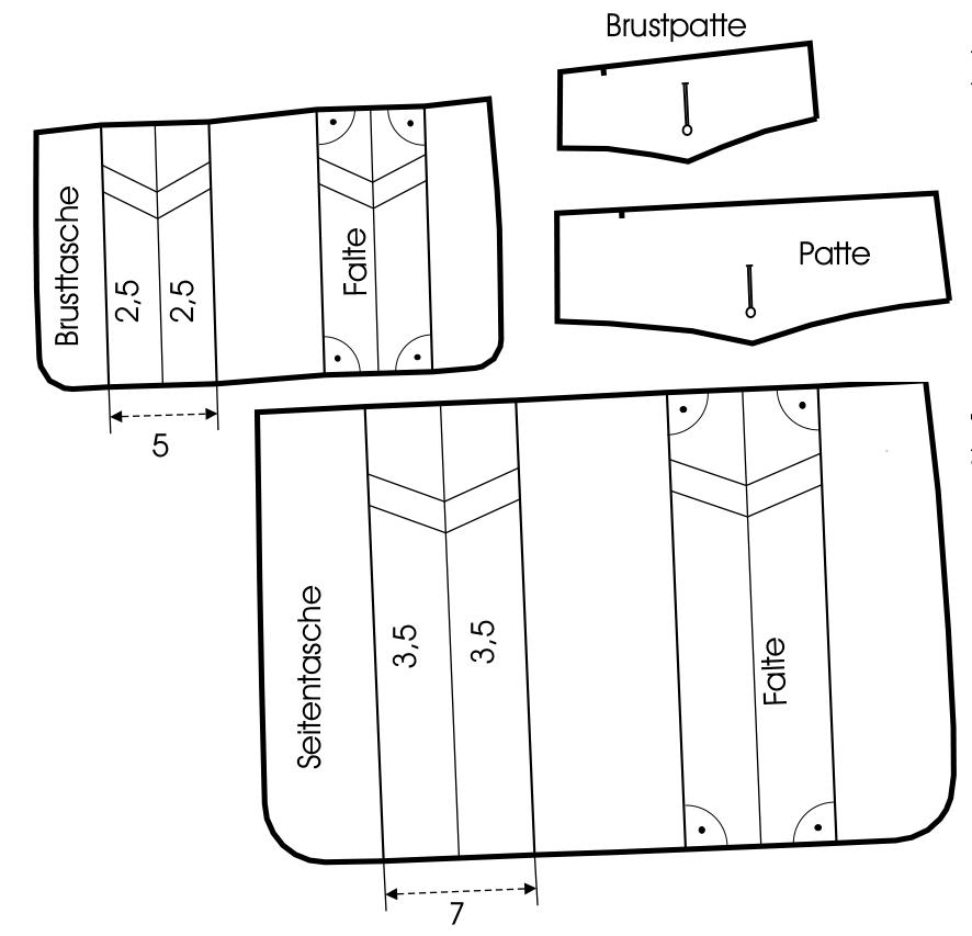 Schnittkonstruktion einer aufgesetzten Pattentasche mit Quetschfalte