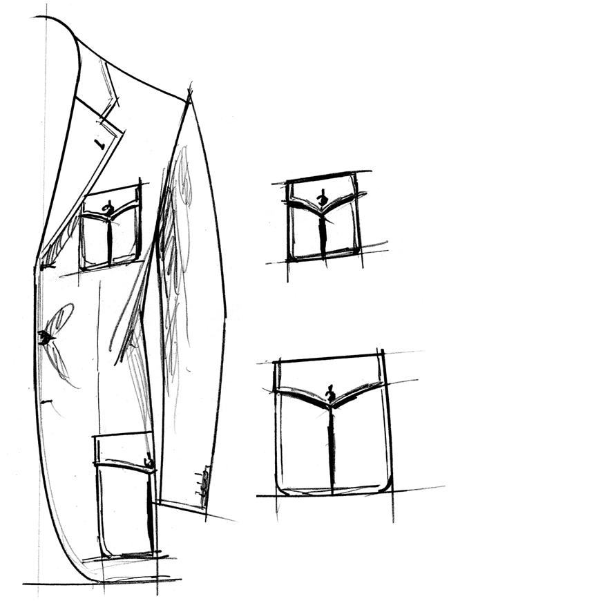 Sakko mit aufgesetzter Pattentaschen mit Kellerfalte