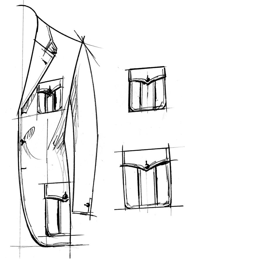 Sakko mit aufgesetzter Pattentaschen mit Quetschfalte