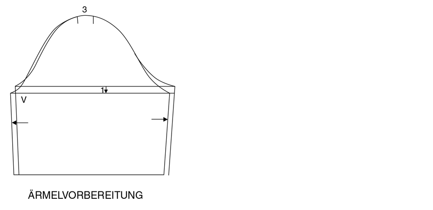 Schnittkonstruktion einer Schluppenbluse