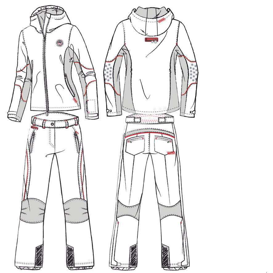Technical drawing of a two-piece ski suit with hoodie jacket