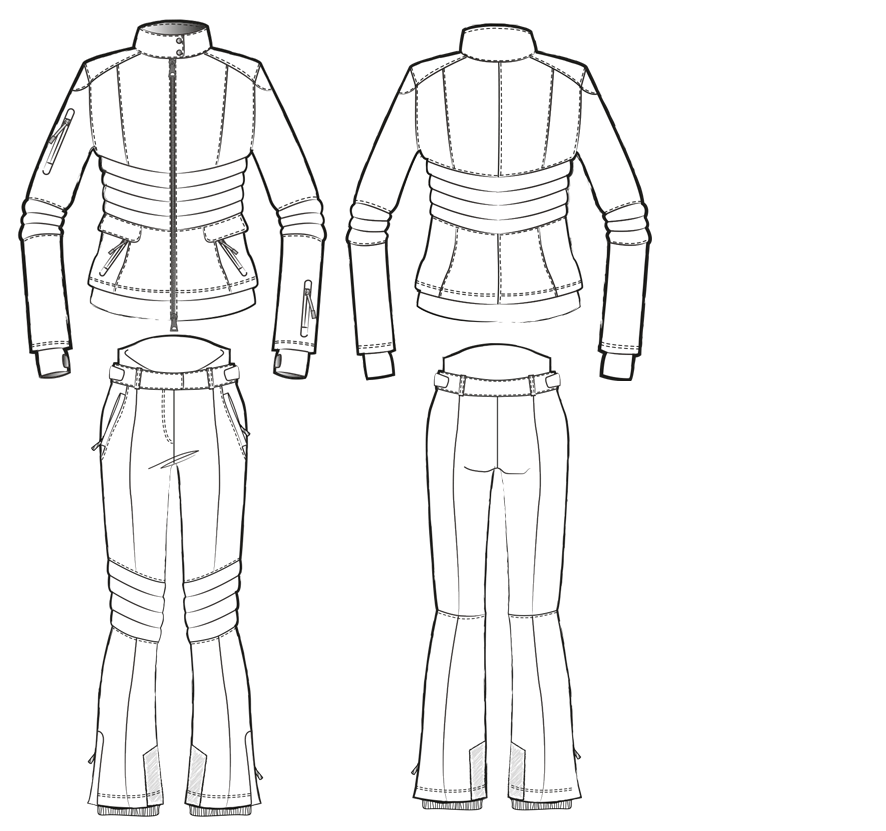 Technical drawing of a two-piece ski suit