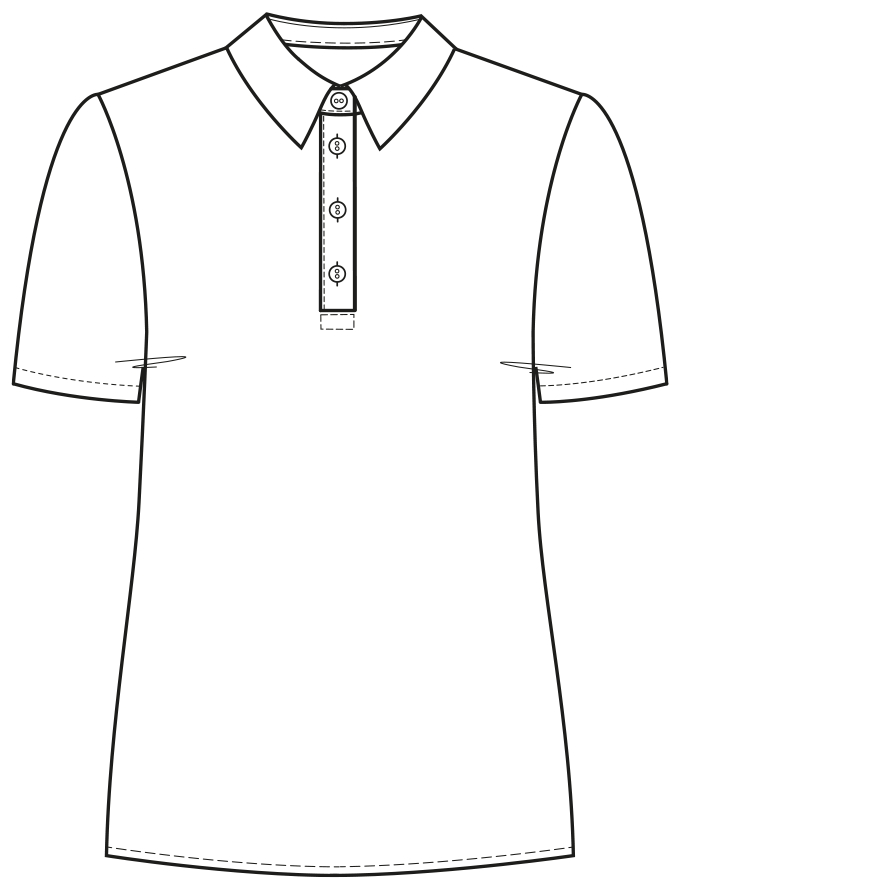 Technische Zeichnung einer Knopfleiste am T-Shirt