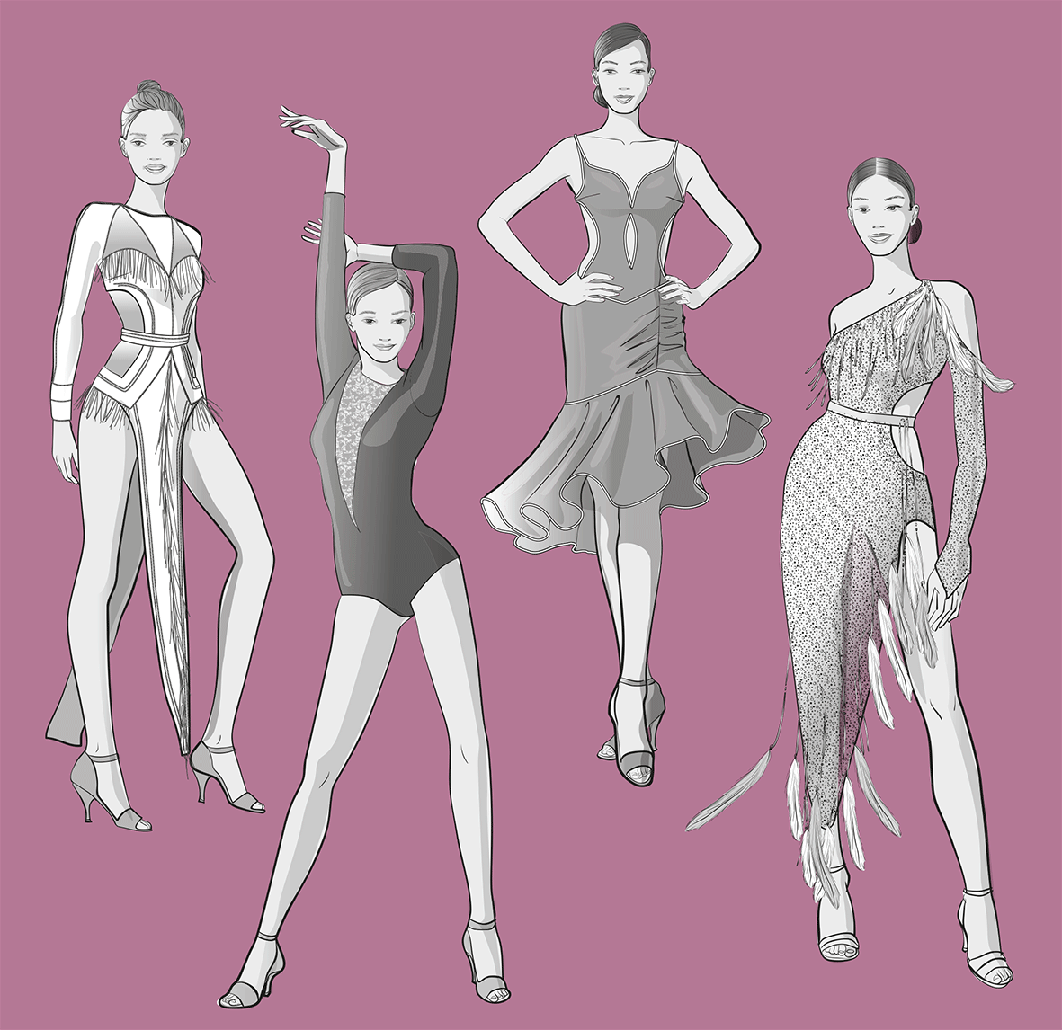 Illustration of the dance dresses contained in the E-Dossier Pattern Making for Dancewear