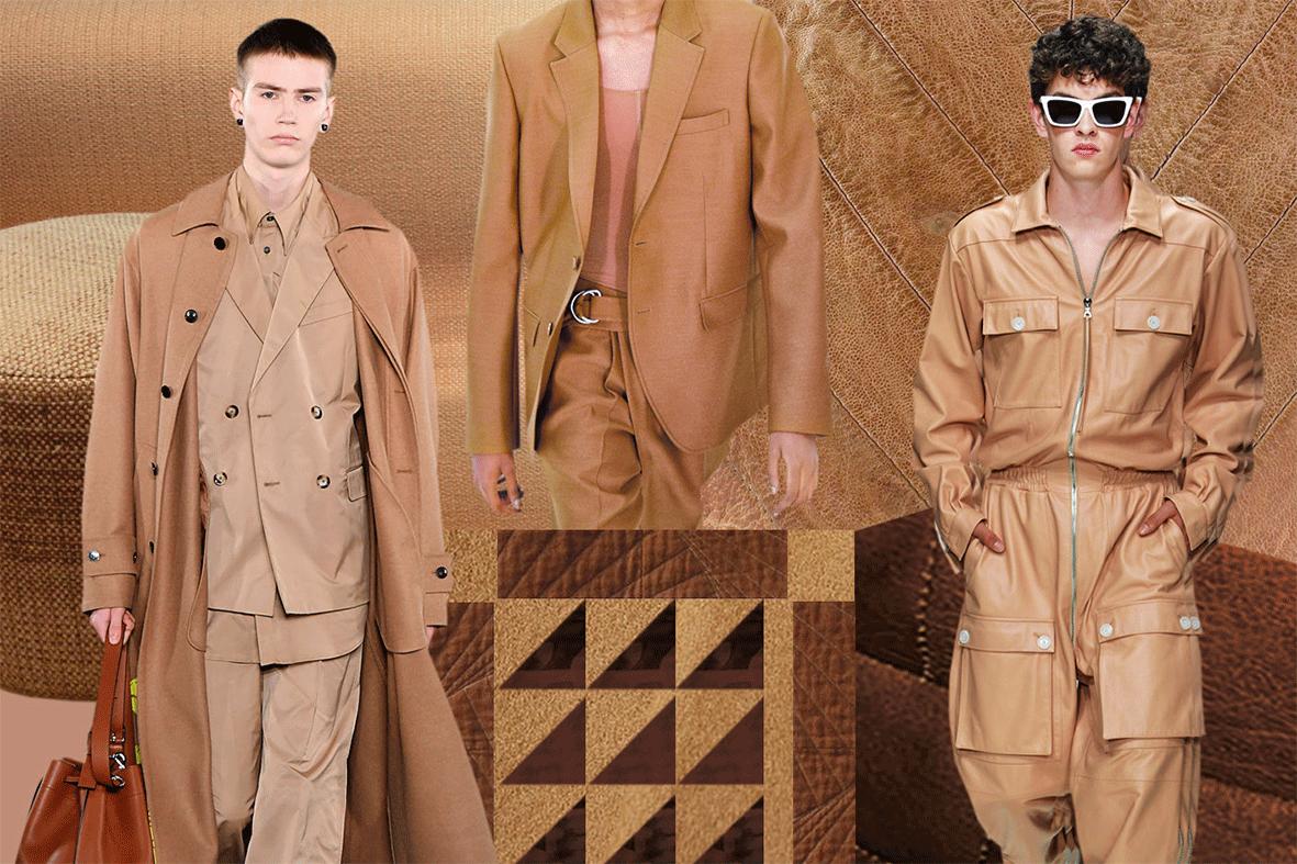 Mode in der Trendfarbe Camel Brown