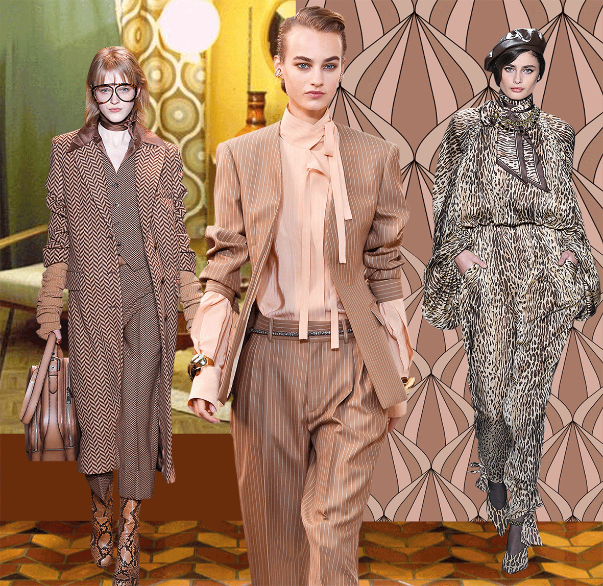 Mode in der Trendfarbe Vintage Brown