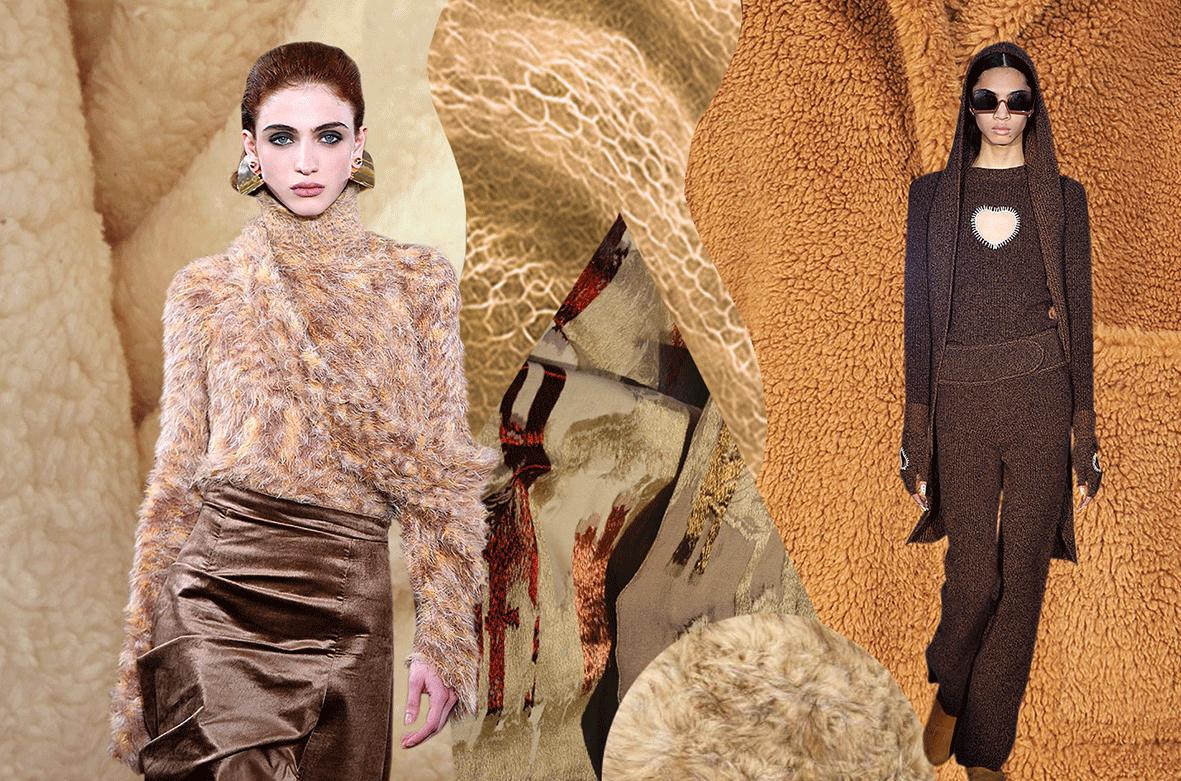 Mode in der Trendfarbe Cuddeling Brown