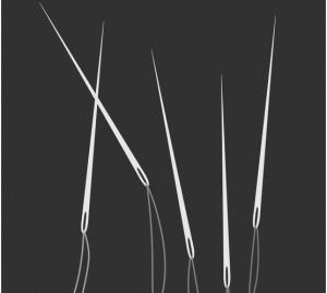 Zeichnung von fünf Nähnadeln mit eingefädelten Fäden.