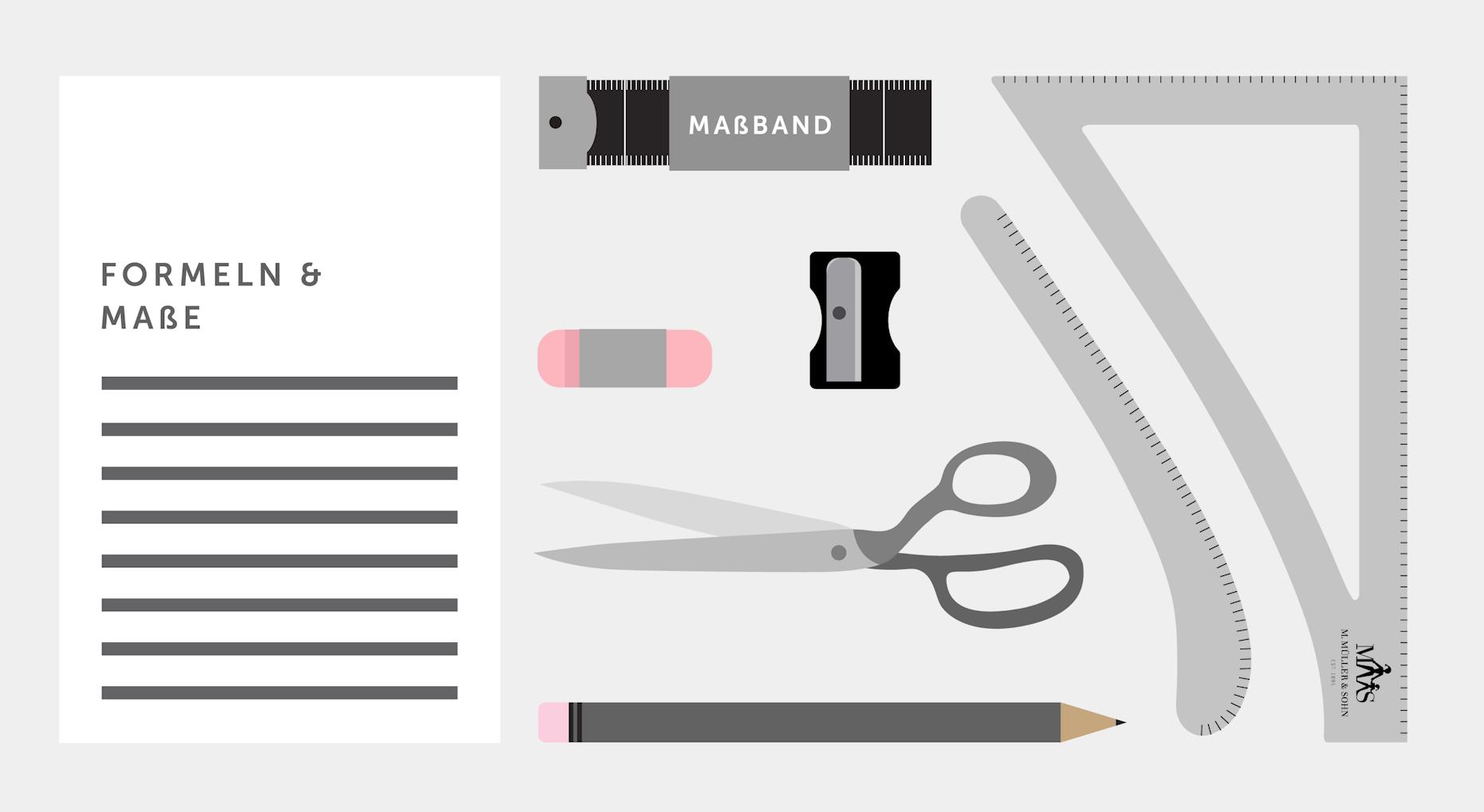 Grafik mit diversem Nähzubehör wie Schere, Stift, Spitzer, Radiergummi, Maßband, Schneiderwinkel und Maßtabelle.