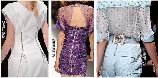 Drei Models mit Kleidungsstücken, bei denen Reißverschlüsse unterschiedlich eingearbeitet sind.