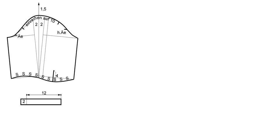 Schnittkonstruktion für den Ärmel an einem Taufkleid