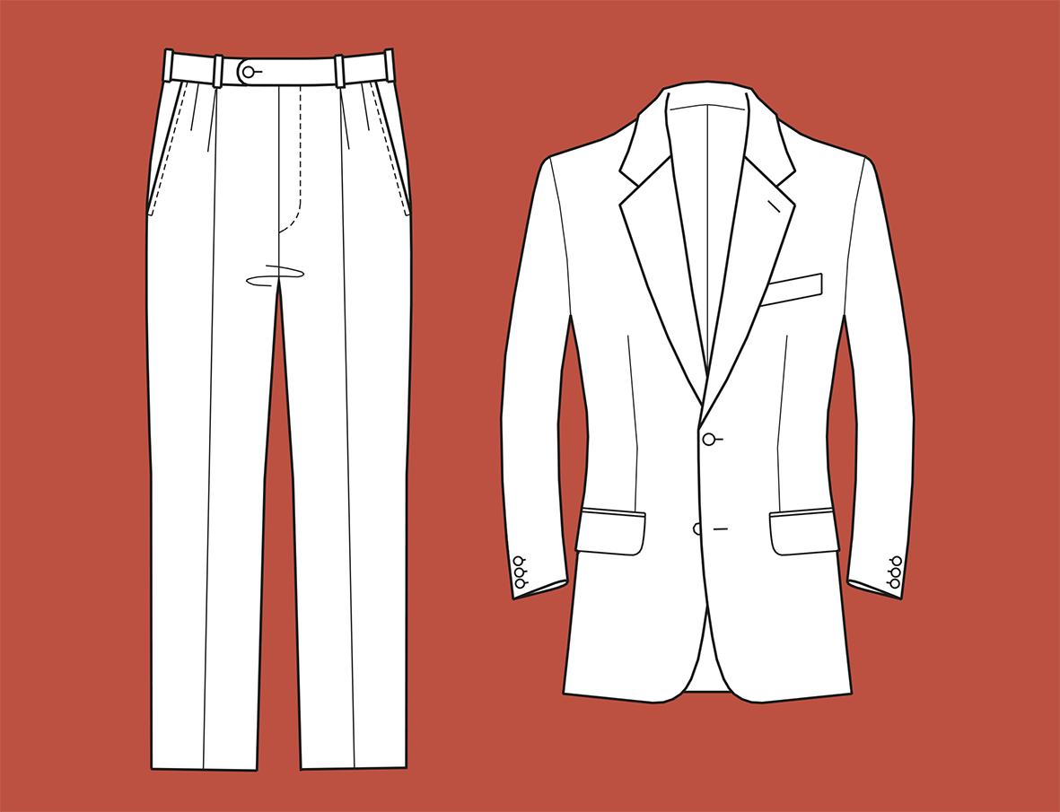 Übersicht eines zweiteiligen Anzugs zur Gradierung