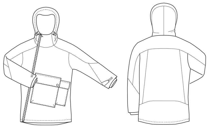 Kapuzenjacke mit schrägem Reißverschluss