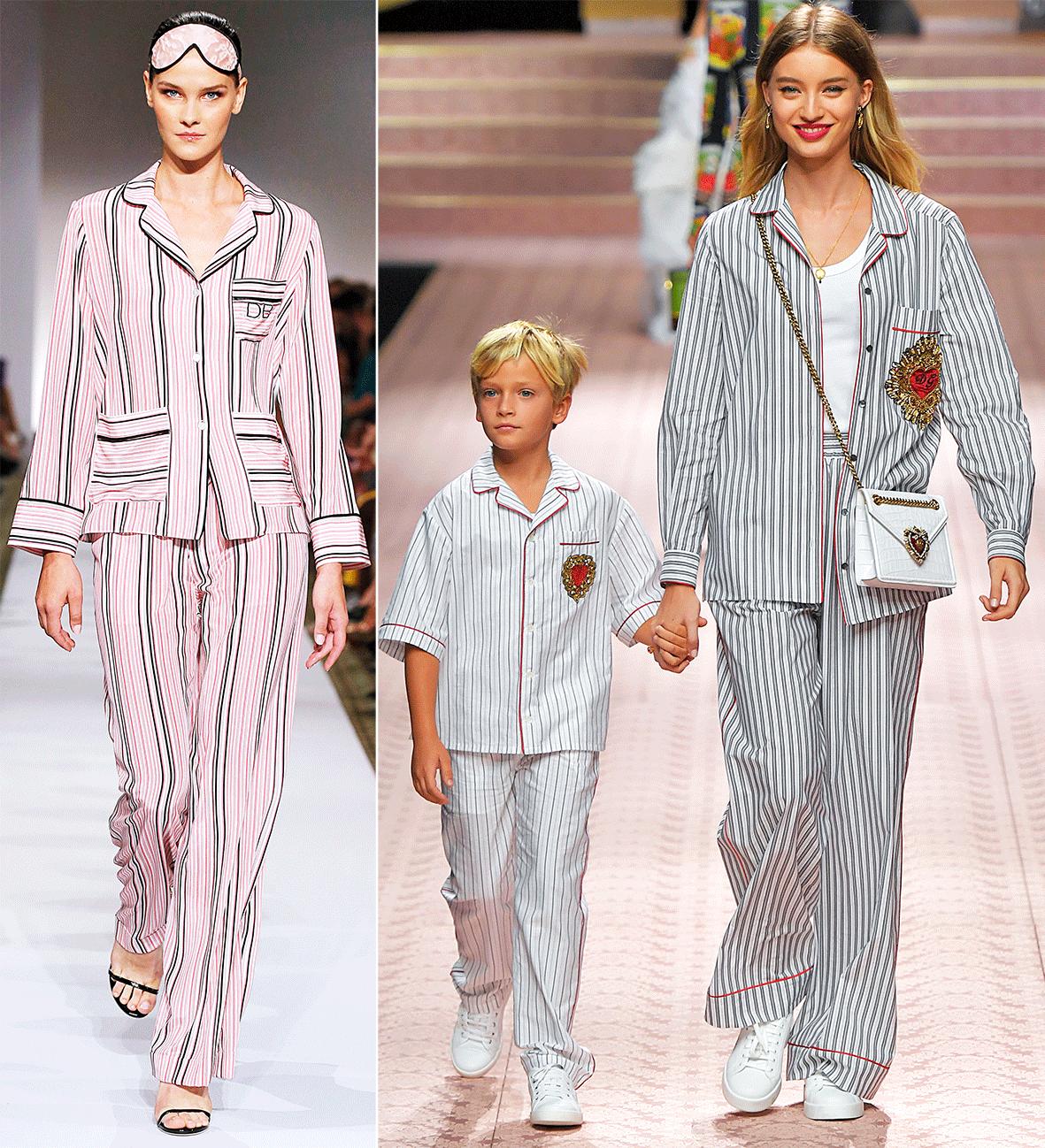 Pyjamas auf dem Laufsteg