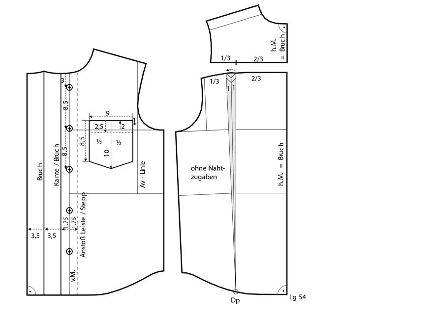 Schnittkonstruktion für das Schnittmuster eines Kinderhemds