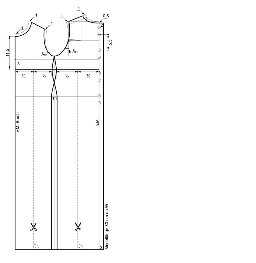 Schnittkonstruktion für das Taufkleid