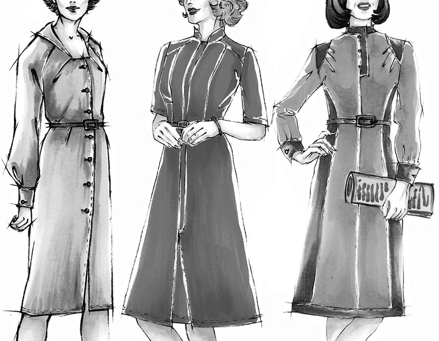 Vintage kleider im Stil der 70er Jahre mit Schnittkonstruktionen für besondere Figuren
