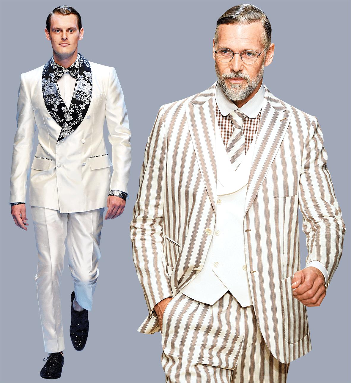 Models in eleganten Herrenanzügen